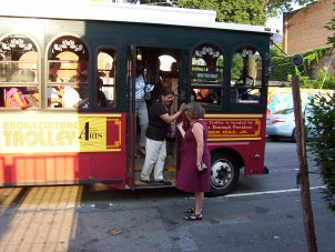 Ellen Pollan and the Bronx Culture Trolley. Photo credit: Bronx Council on the Arts